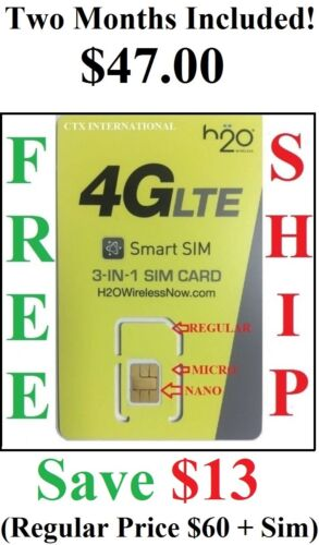 H2O H20 Wireless Triple Cut Sim Card with First Month Included $30 Plan included <br/> Preloaded Sim Card and Activated $30 Plan!