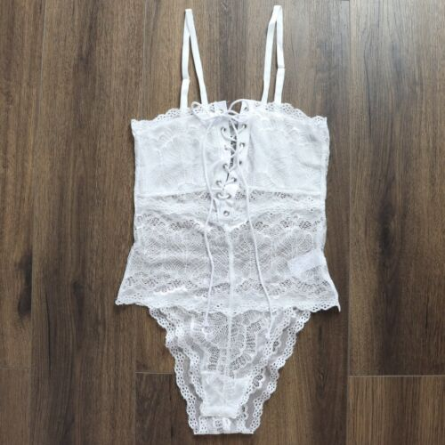 Brand New Sexy White Lace Tie Up Bodysuit Teddy Plus Size Lingerie 8-22 Tight