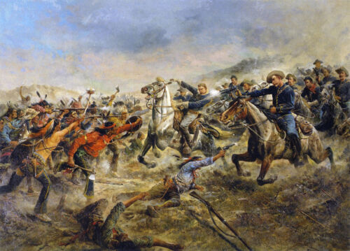 Charge of the Seventh Cavalry by Frank Feller   Giclee Canvas Print  Repro