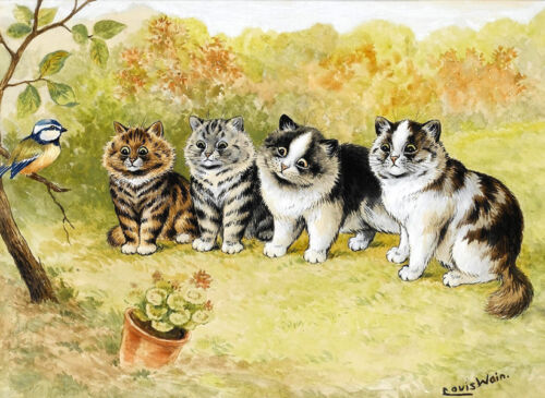 Cats & Bird by Louis Wain painting Canvas Giclee Art Print L1899