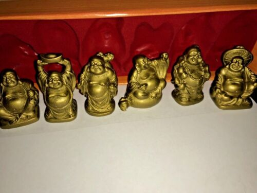 Gold Medium Size Happy Laughing Buddha Set of 6 Statues Chinese Feng Shui 2 Inch