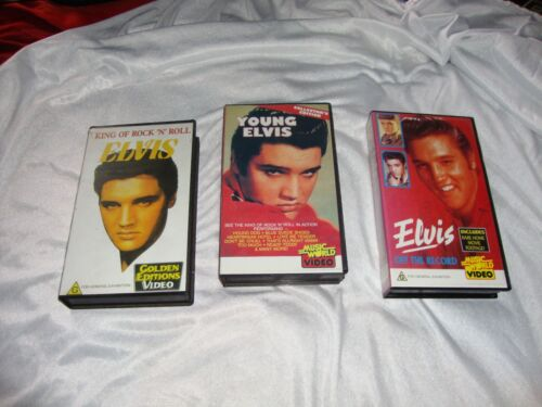 3 VHS VIDEO RARE ELVIS YOUNG ELVIS OFF THE RECORD KING OF ROCK N ROLL NEW