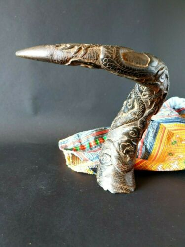 Old Chinese Carved Black Buffalo Horn  …beautiful collection & display piece