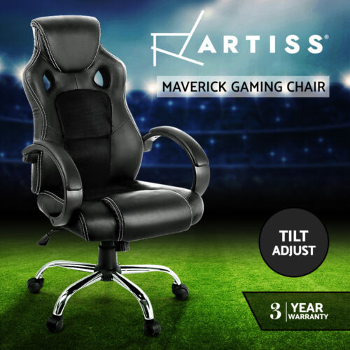 Racing Office Chair Sport Executive Computer Gaming Deluxe PU Leather Mesh Black <br/> 20% off with code PINEAPPLE.Ends 26/12.T&amp;Cs apply.