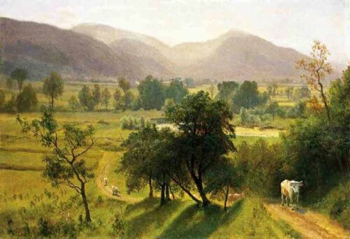 """Dream-art Oil painting landscape Conway Valley New Hampshire cows on the way 36"""""""