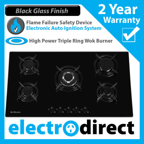 Brand New Brilcon 90cm GAS Black Glass Cooktop Stove Cook Top Heavy Duty 900 <br/> 2 Year Warranty - NG &amp; LPG - Flame Failure Device - Wok
