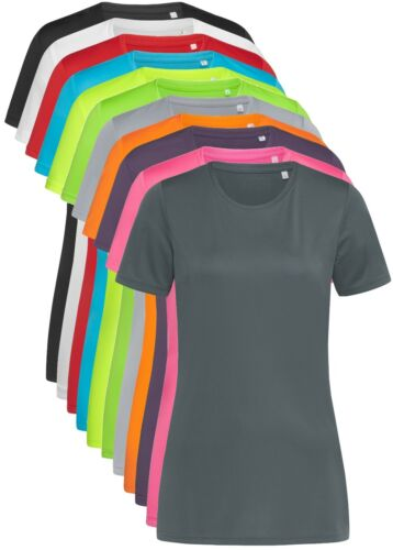 Active Dry Womens Ladies Plain Polyester Sports Performance Body Fit Tee T-Shirt