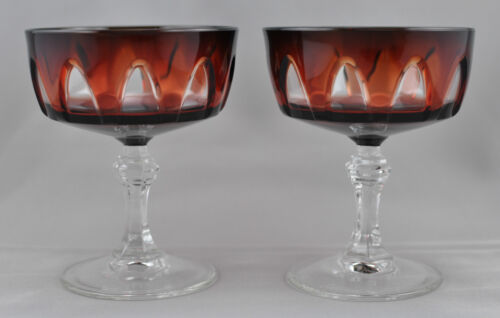 Cristal D'Arques Durand Gothic 2 Champagne Sherbet Glasses Ruby Red Clear France
