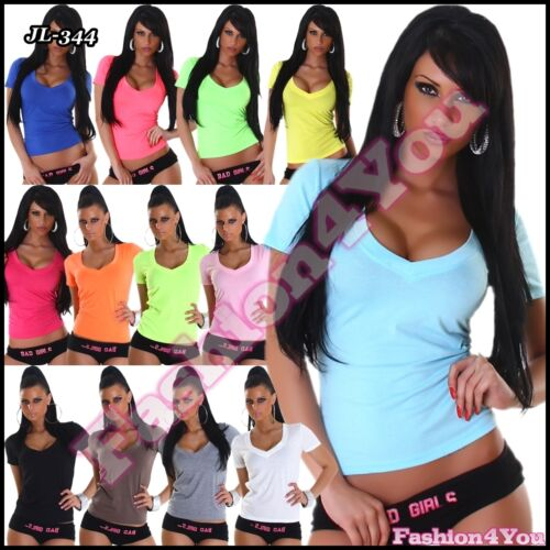 Sexy Ladies V Neck T-Shirt Women's Summer Casual Top One Size 8,10,12 UK