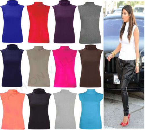 NEW LADIES HIGH NECK SLEEVELESS JERSEY POLO TOP WOMEN'S ROLL NECK TOP 8-26