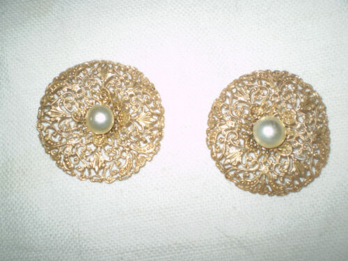 2 Old buttons BRONZE filigree Ornate  With PEARL
