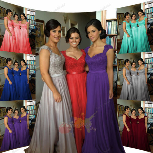Evening Wedding Chiffon Formal Ball Gown Long Prom Bridesmaid Party Dress <br/> We will pay all the tax for UK and EU buyers!