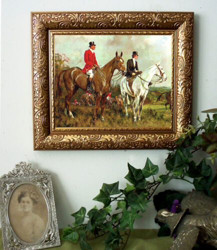 Wright Sidesaddle Fox Hunt Horse Pony Print Antique Vintage Style Framed 11x13