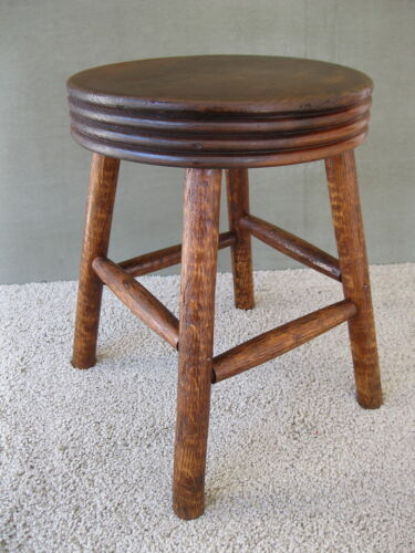 Antique Milking Stool Foot Bench Vintage Primitive Footstool, Round, Four Legs