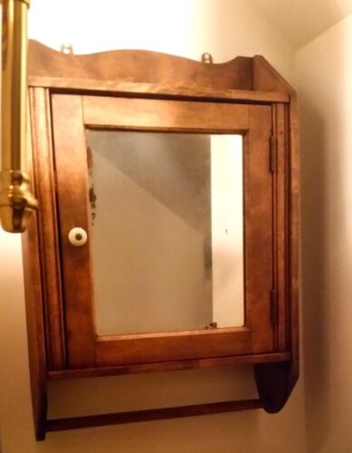 Bath Wall Cabinet vintage solid wood mirror 3 shelves, country oak furniture