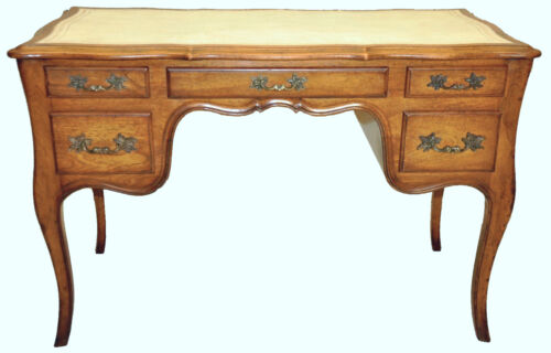 Country French Style Oak Vanity, Original White Leather by Romweber Furniture