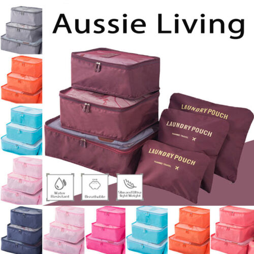 6 Pcs Clothes Underwear Socks Packing Cube Storage Travel Luggage Organizer Bag <br/> ⚠️BUY 1, GET 1 AT 10% OFF⚠️ SYD STOCK⚠️WATER RESISTANT
