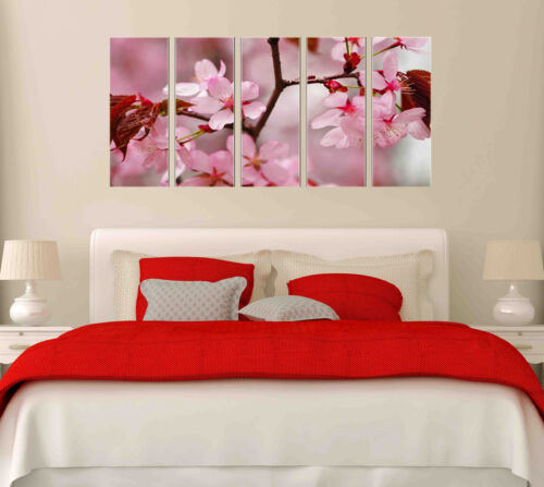 5 Panel Pink Flower Tree Branch  Canvas Wall Art Picture Print Home Living Decor