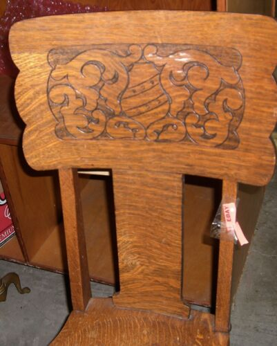 Antique  chair   hall  side    oak pressed  back Victorian  Vanity
