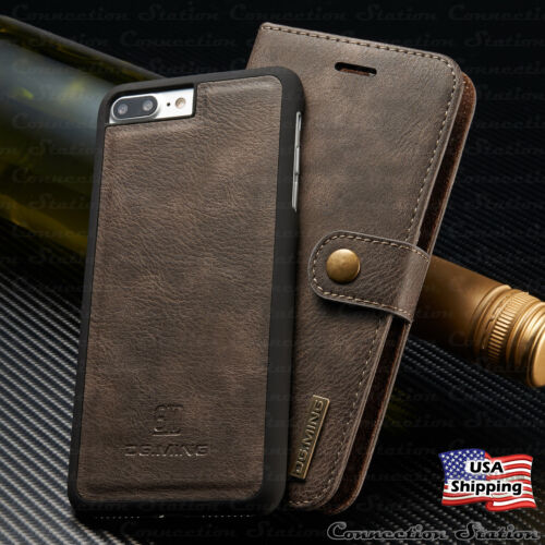 For iPhone 8/7/6s Plus Leather Wallet Magnetic Removable Flip Cover Card Case <br/> &radic;SAME DAY NJ USA SHIPPING!&radic;FREE 1 YEAR WARRANTY!