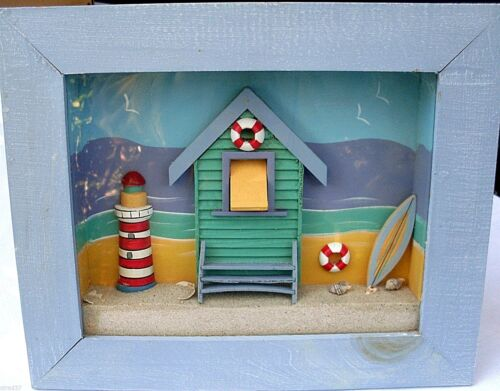 Retro Beach 3D Glass Fronted Box Framed Scene (Loose Sand & Shells) VG Man Cave