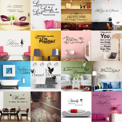 HOT SALE! DIY Removable Art Vinyl Quote Wall Sticker Decal Mural Home Room Decor <br/> 60 Styles✓Dispatch within 24 hrs✓Free &amp; Fast Shipping✓