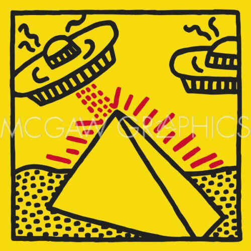 Keith Haring 1984 pyramid with UFOs Contemporary Pop Art Print Poster 11x14