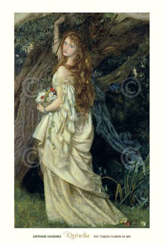Ophelia 1865 by Arthur Hughes Portrait Woman Figure Tree Print Poster 24x36