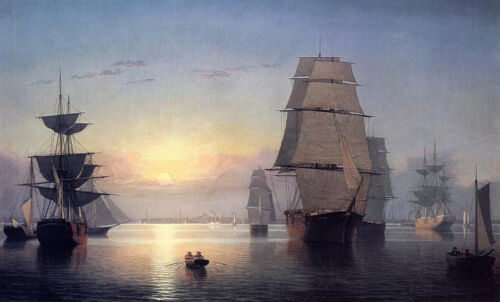 Boston Harbor at Sunset  by Fitz Hugh Lane   Paper Print Repro