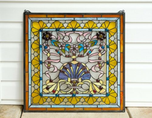 24&quot; x 24&quot; Colorful Tiffany Style stained glass Jeweled window panel !<br/>1940-Now - 151723