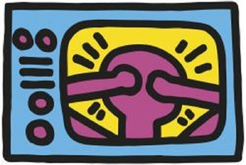1987, TV Keith Haring Abstract Contemporary Figurative Print Poster 11x14
