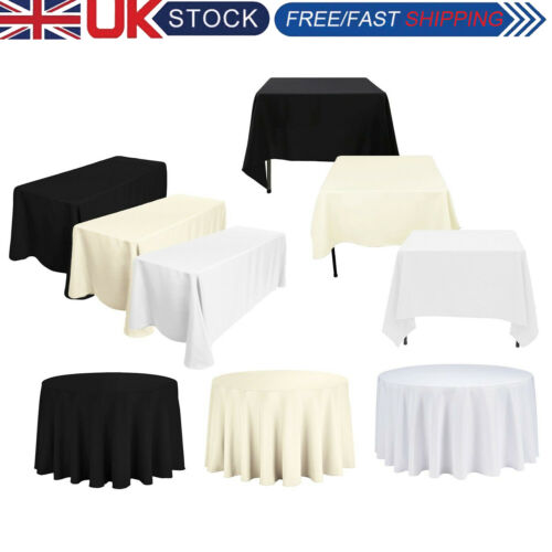 Tablecloth Table Cover Cloth Polyester Banquet Wedding Party White Black Ivory