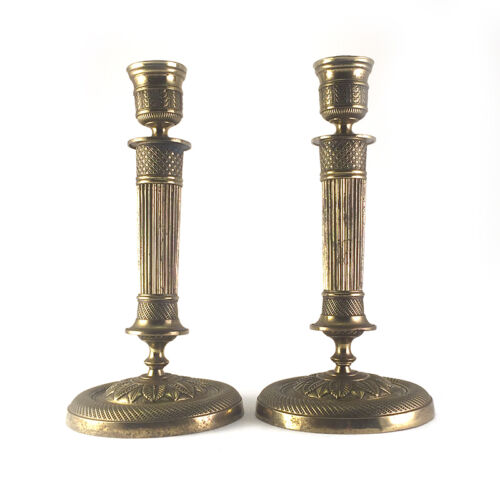 Pair: Antique French Empire Gilt Brass Bronze Ormolu Candlesticks, 19th C.<br/>Metalware - 1211