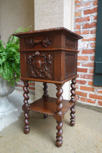 Antique French Carved Oak Barley Twist End Table Nightstand Black Forest Square <br/>1800-1899 - 63587
