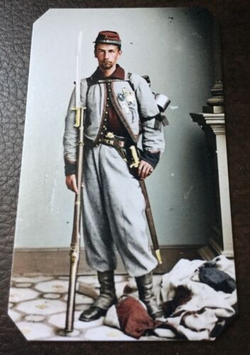 civil war US soldier With Rifle And Backpack tintype C010RP