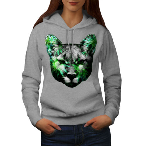 Wellcoda Weed Lynx Cat Cute Womens Hoodie, Drug Casual Hooded Sweatshirt