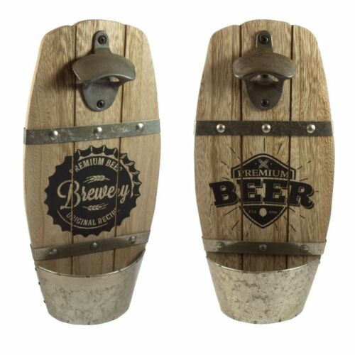 Vintage Wooden Wall Mounted Beer Brewery Bottle Opener Cap Catcher Party Gift