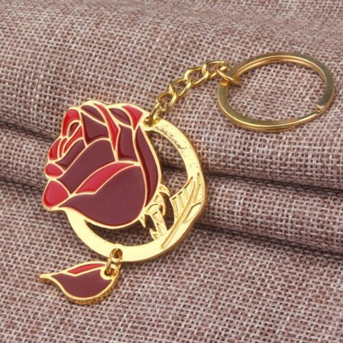 Beauty and the Beast Lover Princess Cosplay Keychain Red Rose Pendant Keychain