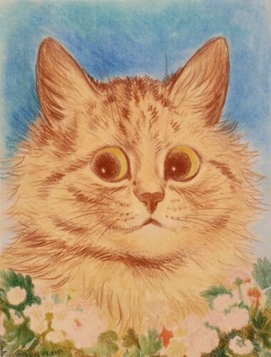 Ginger Flower Cat   by Louis Wain   Paper Print Reproduction