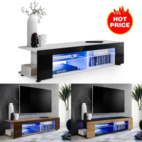 TV Stand Cabinet LED Shelf Entertainment Console Media Center Furniture Modern <br/> ✔RGB LED&#039;s with Remote ✔Storage Space ✔UK Seller