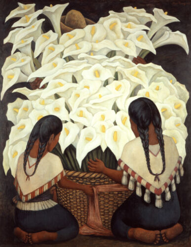 Calla Lily Vendor  by Diego Rivera  Giclee Canvas Print Repro