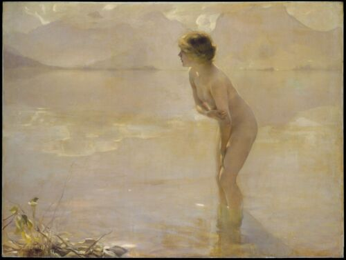 "Paul Chabas, September Morn, Beautiful nude woman, antique decor, 14""x10"" art"