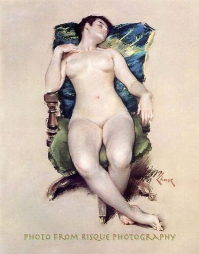 """Nude Woman Resting, 8.5x11"""" Photo Print, William Chase Painting Erotic, Sexy Art"""