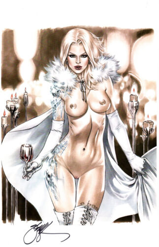 EBAS NAUGHTY EMMA FROST - WHITE QUEEN ART PRINT - SIGNED  11X17