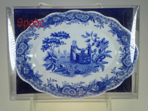 Spode Blue Room Oval Fluted Tray Girl at Well NEW IN BOX (Great Soap Dish)