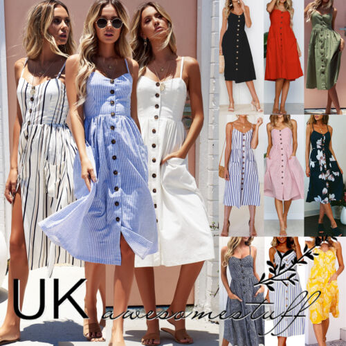 UK Womens Summer Holiday Beach Bardot Button Through Ladies Sun Dress Size 6-20 <br/> ❤❤UK SAMEDAY DISPATCH ❤EXCELLENT QUALITY❤FAST &amp; FREE❤❤