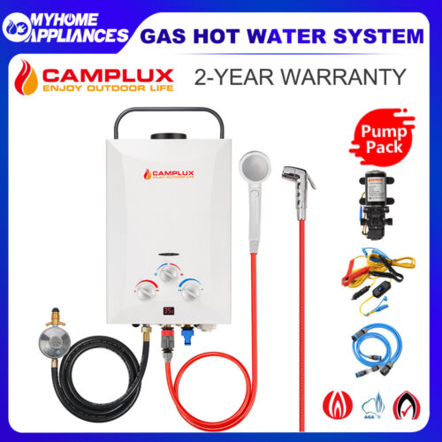 CAMPLUX Gas Hot Water Heater Camping Portable Outdoor Instant Shower Caravan 4WD <br/> 7% Off with Code at Checkout PFLASH20, T&amp;Cs apply