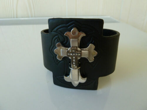 Mens/Womens Biker/Skull/Gothic/quality black leather bracelet/wrist band-Unisex