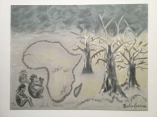 """Madame Rokhaya Sarre Hand Signed Art Lithograph, """"Prayers For Africa"""""""
