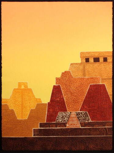 "Martha Slaymaker ""Sun Temples"" Hand Signed Art Print Etching, MAKE AN OFFER!"